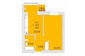ЖК Caramel Residence: планування 1-кімнатної квартири 50 м²