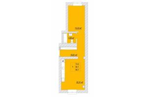 ЖК Caramel Residence: планування 1-кімнатної квартири 50.1 м²