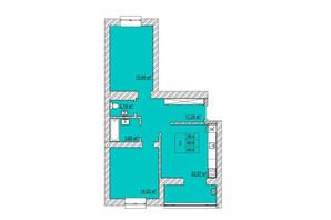 ЖК Caramel Residence: планування 2-кімнатної квартири 69.8 м²