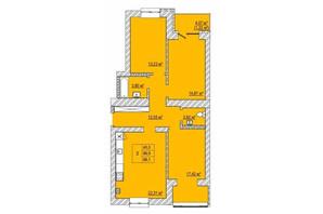 ЖК Caramel Residence: планування 3-кімнатної квартири 88.1 м²