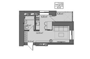 ЖК Central City apartments: планування 1-кімнатної квартири 30.42 м²