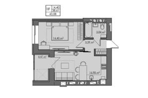 ЖК Central City apartments: планування 1-кімнатної квартири 43.08 м²