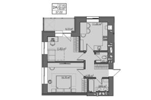 ЖК Central City apartments: планування 2-кімнатної квартири 57.02 м²