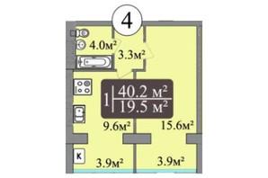ЖК Central Dream: планировка 1-комнатной квартиры 40.2 м²