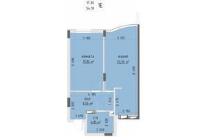 ЖК Central Park Bucha: планування 1-кімнатної квартири 54.1 м²