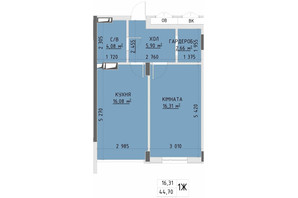 ЖК Central Park Bucha: планування 1-кімнатної квартири 44.7 м²