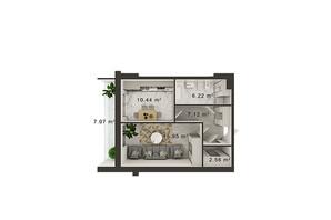 ЖК Central Park: планування 1-кімнатної квартири 45 м²