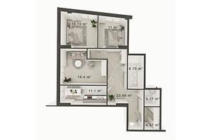 ЖК Central Park: планування 3-кімнатної квартири 97 м²