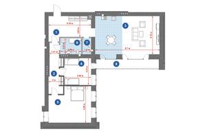 ЖК Central Park: планировка 2-комнатной квартиры 123.12 м²