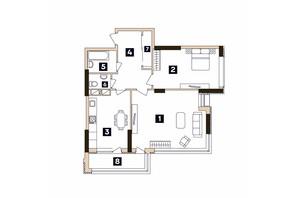 ЖК Central: планировка 2-комнатной квартиры 71.12 м²