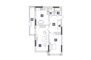 ЖК Central: планировка 2-комнатной квартиры 71.44 м²