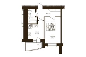ЖК Чайка: планировка 1-комнатной квартиры 42.16 м²