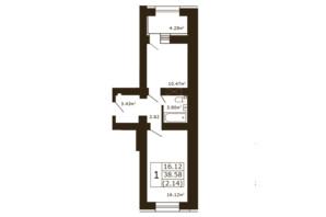 ЖК Чайка: планировка 1-комнатной квартиры 38.58 м²