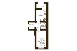 ЖК Чайка: планировка 1-комнатной квартиры 41.09 м²