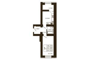 ЖК Чайка: планування 1-кімнатної квартири 41.09 м²