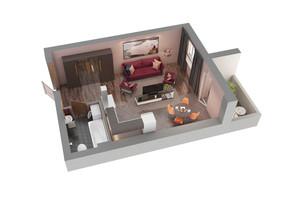 ЖК Чайка: планування 1-кімнатної квартири 34.68 м²