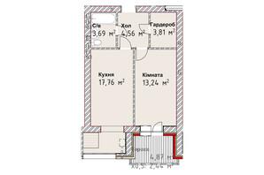 ЖК Чайка Люкс: планування 1-кімнатної квартири 45.5 м²