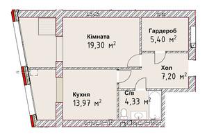 ЖК Чайка Люкс: планування 1-кімнатної квартири 50.2 м²
