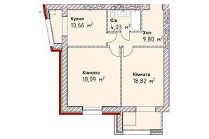ЖК Чайка Люкс: планування 2-кімнатної квартири 61.4 м²