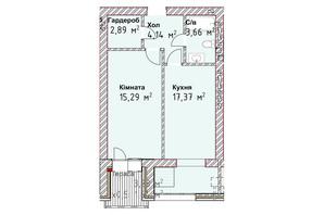 ЖК Чайка Люкс: планування 1-кімнатної квартири 44.99 м²