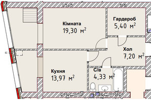 ЖК Чайка Люкс: планировка 1-комнатной квартиры 50.2 м²
