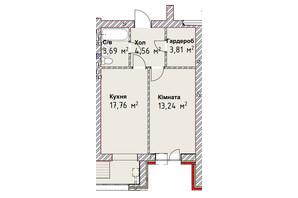 ЖК Чайка Люкс: планировка 1-комнатной квартиры 45.5 м²