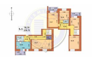 ЖК Чарівне Місто: планування 5-кімнатної квартири 129.73 м²