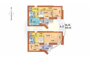 ЖК Чарівне Місто: планування 4-кімнатної квартири 102.41 м²