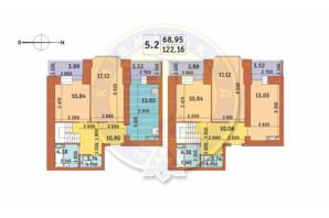 ЖК Чарівне Місто: планування 5-кімнатної квартири 122.16 м²