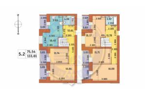 ЖК Чарівне Місто: планування 5-кімнатної квартири 133.61 м²
