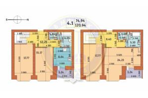 ЖК Чарівне Місто: планування 4-кімнатної квартири 120.94 м²
