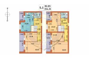 ЖК Чарівне Місто: планування 5-кімнатної квартири 154.31 м²