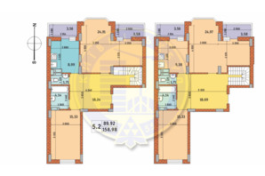 ЖК Чарівне Місто: планування 5-кімнатної квартири 158.98 м²