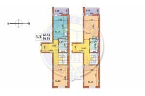 ЖК Чарівне Місто: планування 3-кімнатної квартири 96.95 м²