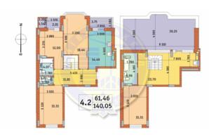 ЖК Чарівне Місто: планування 4-кімнатної квартири 140.05 м²
