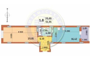 ЖК Чарівне Місто: планування 1-кімнатної квартири 51.91 м²