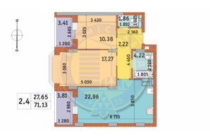 ЖК Чарівне Місто: планування 2-кімнатної квартири 71.13 м²
