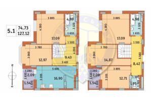 ЖК Чарівне Місто: планування 5-кімнатної квартири 127.12 м²