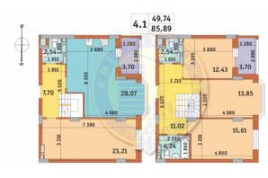 ЖК Чарівне Місто: планування 4-кімнатної квартири 128.6 м²