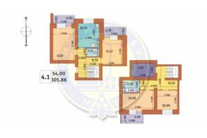 ЖК Чаривне Мисто: планировка 4-комнатной квартиры 105.86 м²