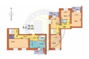 ЖК Чаривне Мисто: планировка 5-комнатной квартиры 132.85 м²
