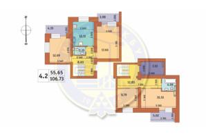 ЖК Чаривне Мисто: планировка 4-комнатной квартиры 106.73 м²