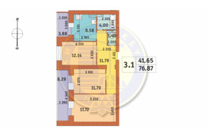 ЖК Чаривне Мисто: планировка 3-комнатной квартиры 76.87 м²