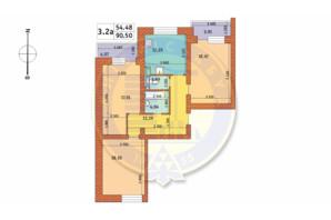 ЖК Чаривне Мисто: планировка 3-комнатной квартиры 90.5 м²