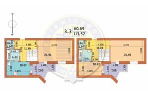 ЖК Чаривне Мисто: планировка 3-комнатной квартиры 113.52 м²