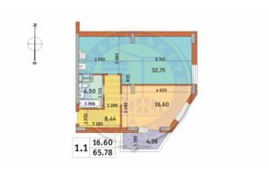 ЖК Чаривне Мисто: планировка 1-комнатной квартиры 65.78 м²