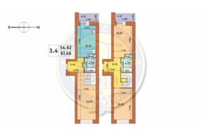 ЖК Чаривне Мисто: планировка 3-комнатной квартиры 97.66 м²