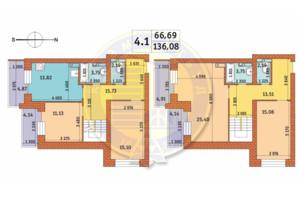 ЖК Чаривне Мисто: планировка 4-комнатной квартиры 136.08 м²