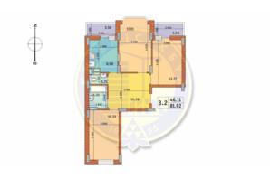 ЖК Чаривне Мисто: планировка 3-комнатной квартиры 81.92 м²