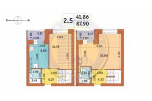 ЖК Чаривне Мисто: планировка 2-комнатной квартиры 87.9 м²
